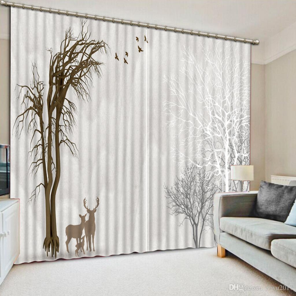 2019 Creative Modern Simple Tree Water 3d Blackout Window Curtain