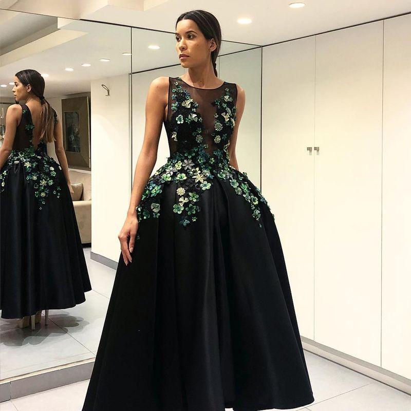 Ball Gown Prom Dresses Black Satin Evening Dress Major Beading ...
