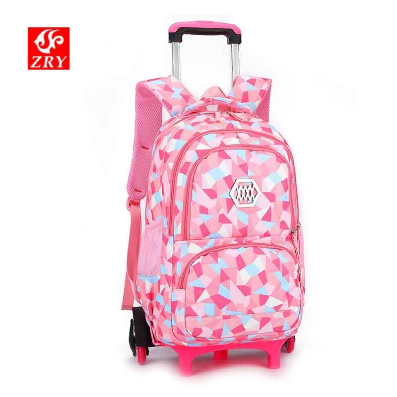 9bb0f4f657b6 ZIRANYU Latest Removable Children School Bags Waterproof light Weight Girls  Backpack bags printing backpack Trolley Schoolbag