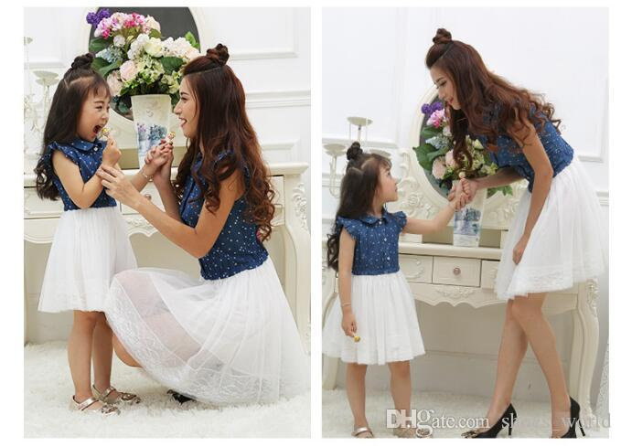 Mother Daughter Dresses 2018 Summer Family Outfits Mom and Daughter Dress Matching Clothes Blue White Dress for Kids and Women
