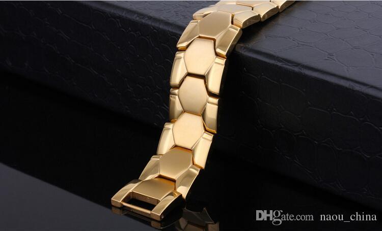 Yüksek Kalite Erkekler Kadınlar Takı Enerji Sağlık Manyetik Bilezik Moda Fayda Altın Gümüş Paslanmaz Çelik Mıknatıs Sağlık Bilezikler