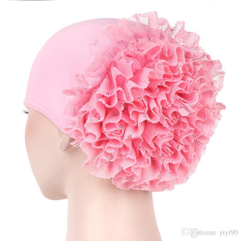 Women Flower Elastic Headband Scarf Turban Beanie Head Wrap Chemo Cap Hat for Cancer Patient Hair Loss
