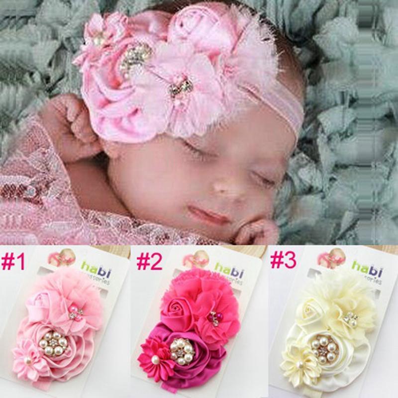 Bebé bebé grande rosa flor de la venda del bebé niñas Rhinestone y perla gasa flor diadema niños accesorios para el cabello 1 unid HB004