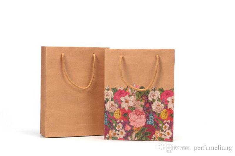 kraft paper bag with handle flowers handbag gift bag Wedding party Fashionable Desserts colourful printing QW7219
