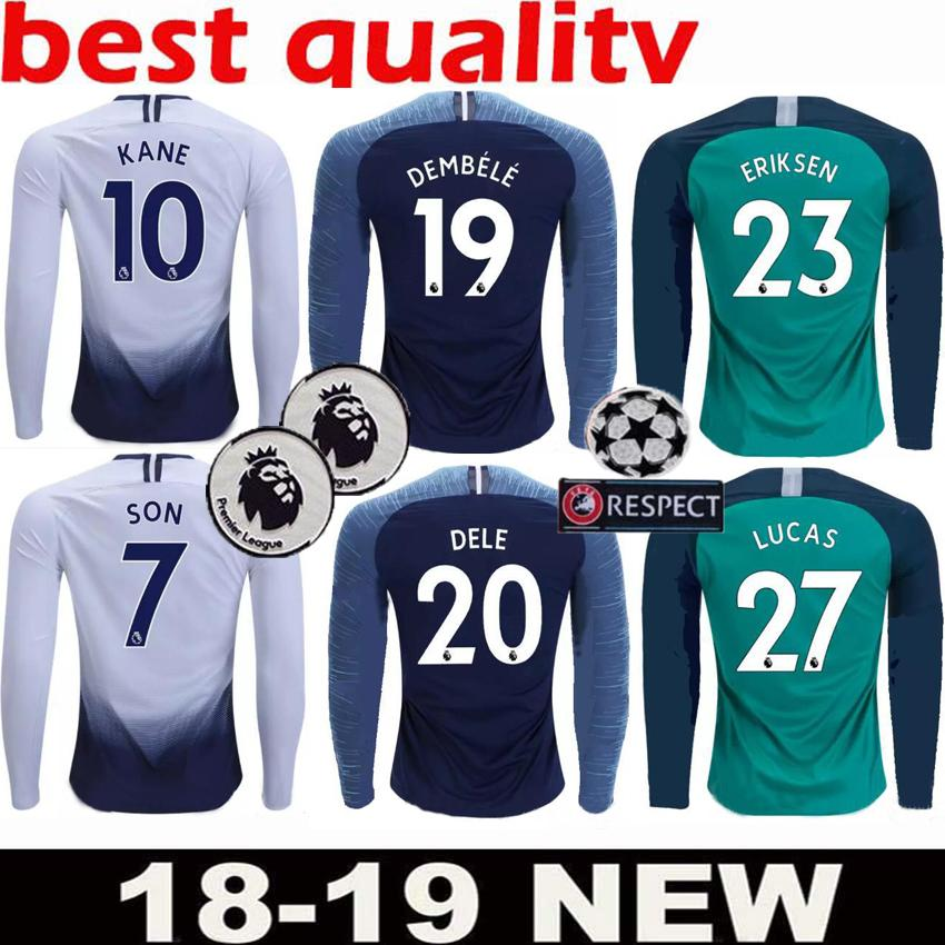 100% authentic 4d489 18059 2018 2019 Premier League Tottenhames 10 KANE Long Sleeve Soccer Jerseys  LAMELA ERIKSEN DELE Custom Home Away 18 19 Hot Spur Football Shirt