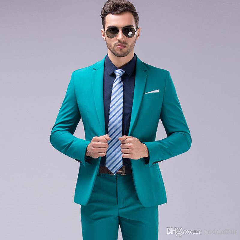 cba382705a59e Compre es Marrón Verde Burdeos Negro Trajes Rosados Hombres 2018 Marca Slim  Fit Novio Traje De Boda Fiesta De Moda Coreana Desgaste A  102.44 Del ...
