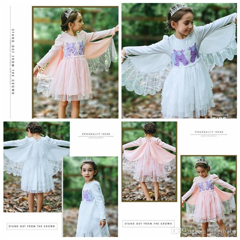 84025fdc003 2019 Unicorn Embroidery Girls Dresses Long Sleeved Baby Dresses ...