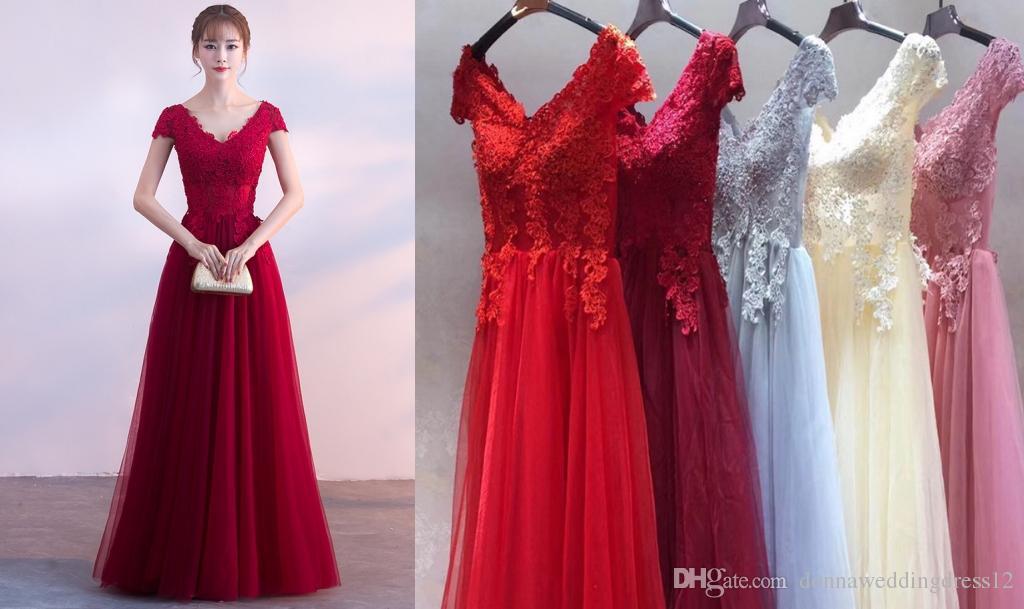2148c8d23325d Compre 2019 Moda Burdeos Apliques Encaje Tul Vestidos Largos De Noche Vestidos  De Baile Una Línea Vestido De Fiesta Formal Vestido Para Ocasiones  Especiales ...