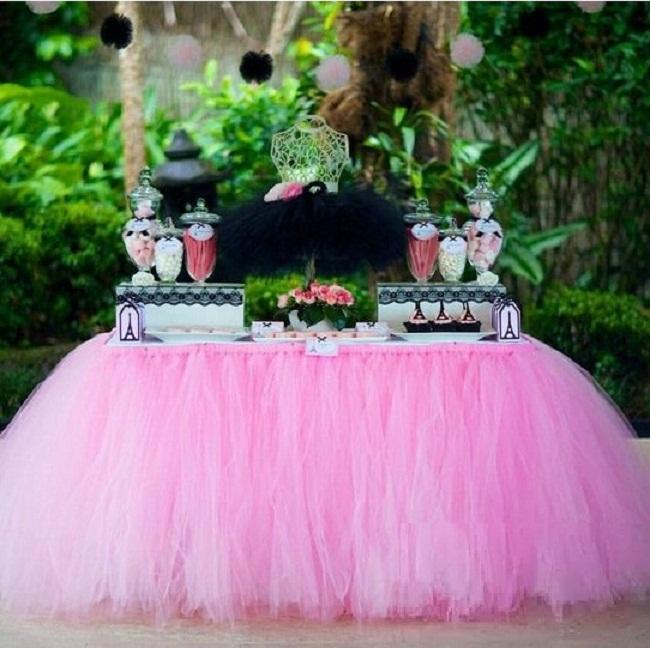 22 Color Festive Wedding Supplies Customize Handmade Tulle Tutu Table Skirt Birthday Party Decorations Kids