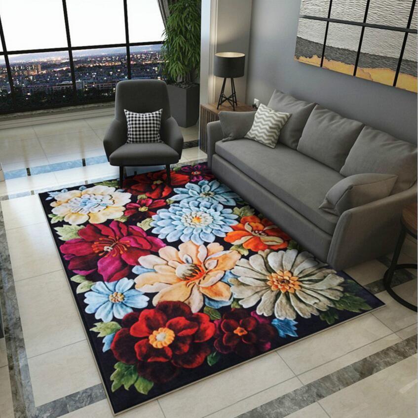 Anti-Skid Flower 3D Print Living room Big Carpet Study Floor Rug Tea Table  Foot pad Lobby Door Mat Bay window Cushion Easy wash