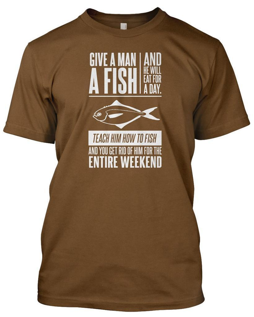 GIVE MAN A FISH\' Fisherman T Shirt Mens Funny Christmas Gift Angler ...