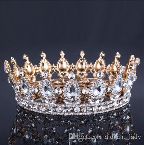 Corona de boda de oro vintage de lujo Aleación Tiara nupcial Corona de rey reina barroca Corona de tiara de diamantes de imitación de color dorado