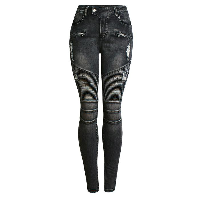 women biker jeans skinny slim fitting tight jeans cool ripped for autumn