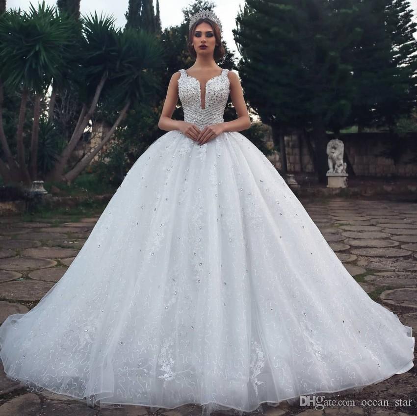 1ae5016b1e1a Acquista Abiti Da Sposa Stile Arabo Bianco Dubai Ball Gown Lusso Paillettes  Che Borda Appliques Abiti Da Sposa Puffy Con Lacci Indietro A  334.74 Dal  ...