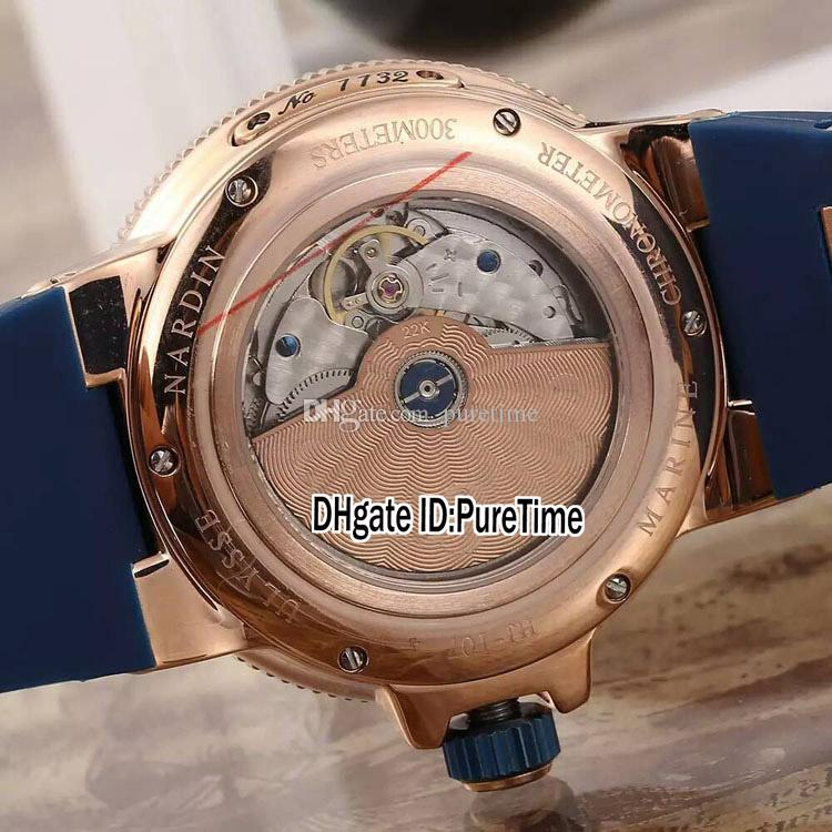 Yeni Deniz Maxi 266-67-3 / 43 Gül Altın Mavi Kadran Tarihi Güç Rezerv Otomatik Mens İzle Mavi Kauçuk Kayış Spor Saatler 4 Renkler UN-86
