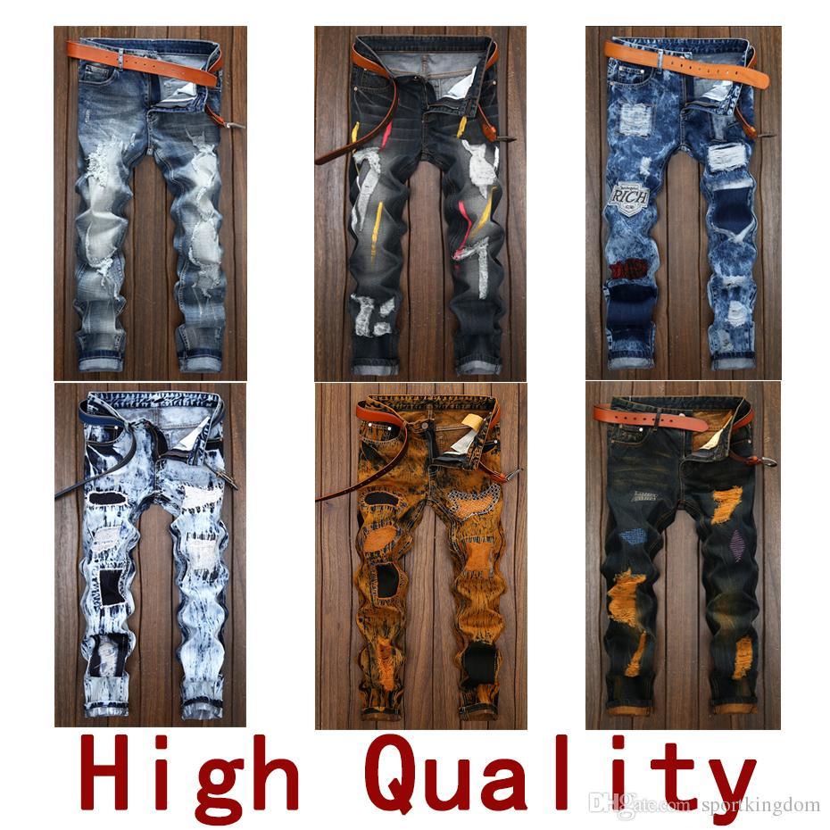 79892ce0 mens Jeans Fashion Designer jeans Sizes 28 42 Distressed Skinny Slim  Motorcycle Men's Biker jeans Moto hole beggar Hip Hop men Denim Pants