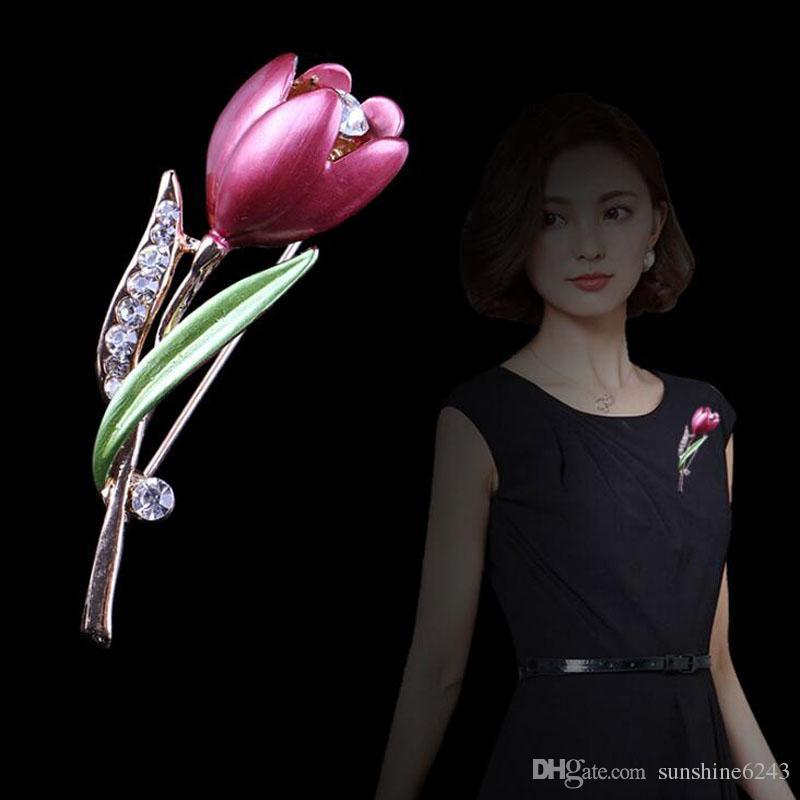 Neue Dekorative Kristall Tulpe Brosche Kleidungsstück Zubehör Schmuck Tulip Broschen Für Frauen Blume Hochzeit Brosche Schmuck
