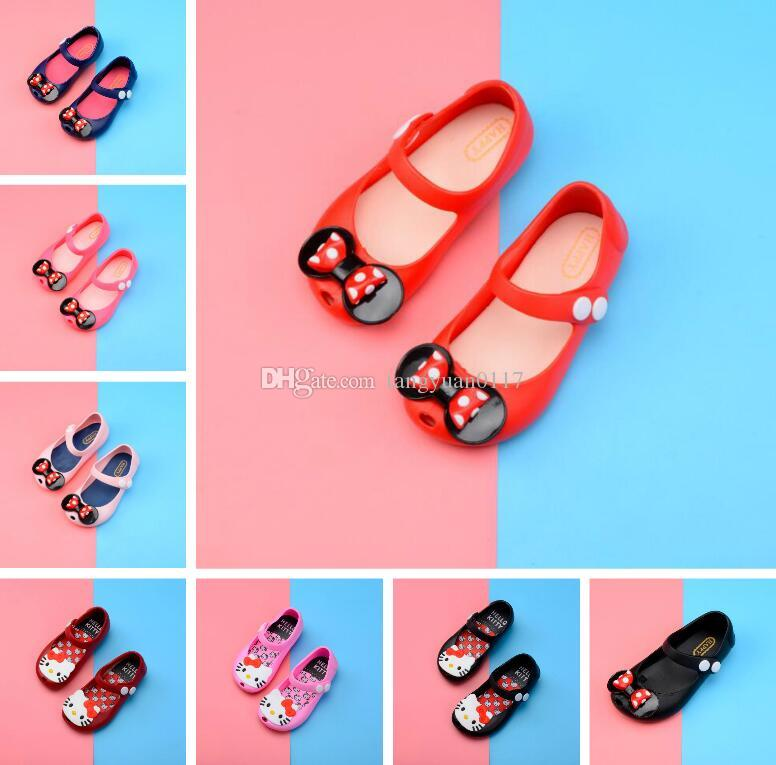 2018 Kids Shoes For Girls New Limited Strap Baby Rubber Mini Cute Bow Sandals Children Bowtie 7 Colors