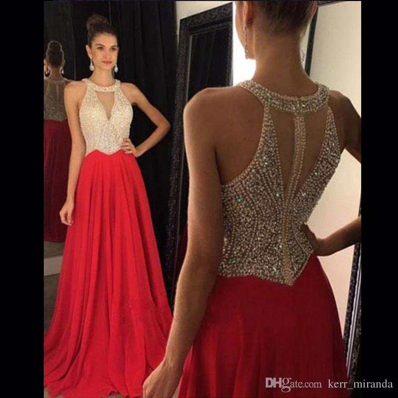 80d7cb0b91ca Luxury Prom Dresses Jewel Neck Keyhole Crystal Beading Royal Blue Chiffon  Sweep Train Hollow Back Evening Dress Party Pageant Gowns DH1554 Short Prom  ...