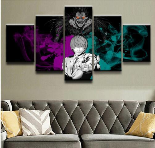 5 Panel Canvas Painting Sword Art Online Animated Cartoon Characters Modular Picture Decor Wall Pictures For Living Room