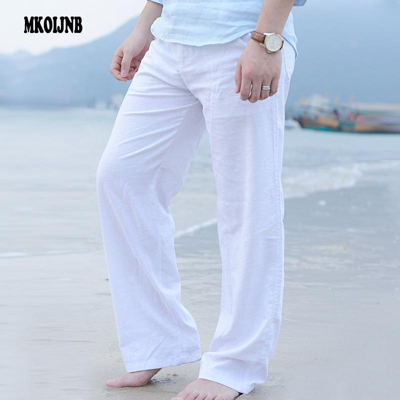90114e411f7f 2019 New Top Quality Men S Summer Casual Pants Natural Cotton Linen Trousers  White Linen Elastic Waist Straight Man S Pants Y1892503 From Tao01