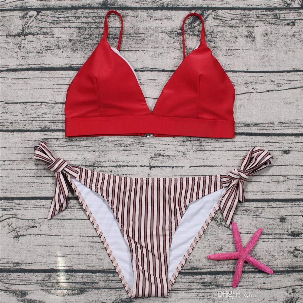 73ea47dab6543 Red Striped Bikini Set Push-Up Padded Bra Top Swimwear Swimsuit ...