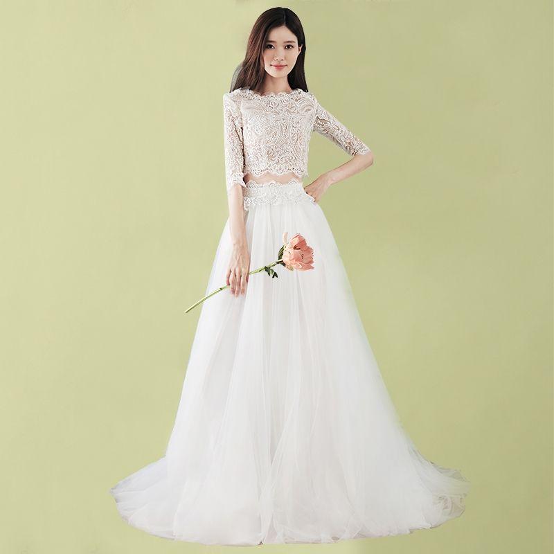 Discount Fashion Two Pieces Wedding Dresses 2018 Korea Fashion Half