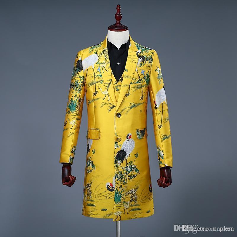 Acheter Suit Veste Floral Print Hommes Costume Tuxedo De rIwXr