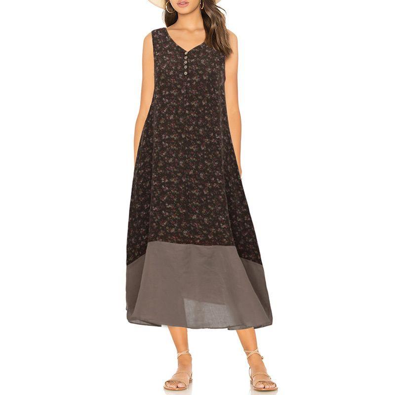 Plus Size Dress for Women 3XL 4XL 5XL Floral Print V Neck Sleeveless  Buttons Maxi Dress Vintage Loose Beach Wear Cotton Dress