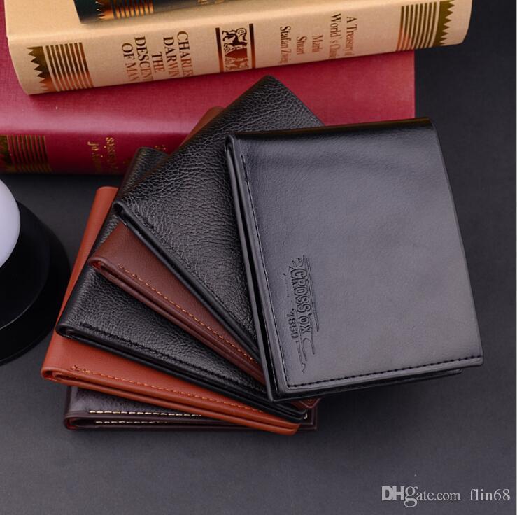جديد أزياء العلامة التجارية رجل محفظة الكلاسيكية الصلبة نمط مصمم قصيرة محفظة محفظة الرجال محفظة جيوب بطاقات الائتمان id حامل