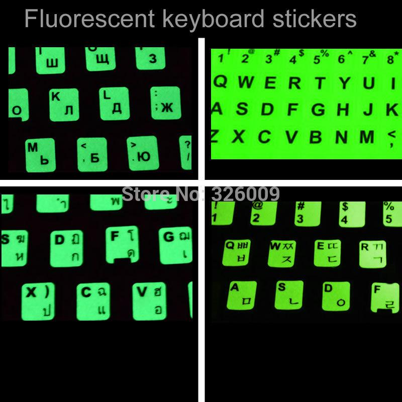 Fluorescent keyboard stickers Russian Thai Korean Alphabet for all kind of  keyboard Fluorescence luminous layout Shine long time