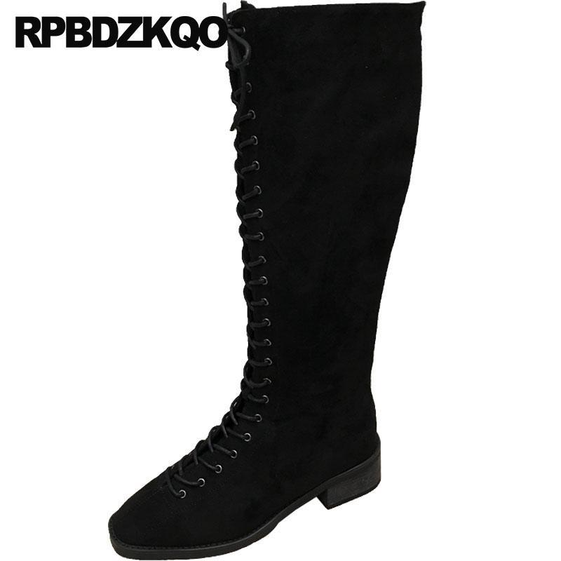 5bb5cbc31d scarpe firmate donna luxury 2018 stringate stivali chunky vintage punta  squadrata ginocchio alta moda tacco basso nero in pelle scamosciata autunno  ...