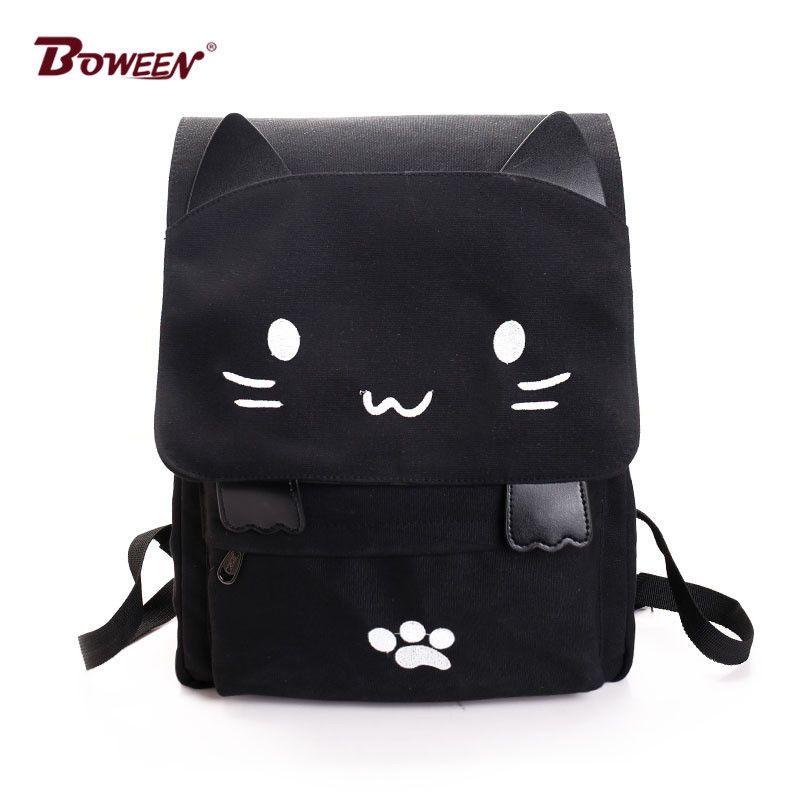 Backpack Women Canvas Big Black School Bags For Teenagers Girls Book Bag  Embroidery Printing Back Bag Cat Cute Rucksack Bookbag Y18100705 Fashionable  ... 318eb284e5