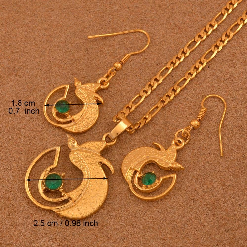 0105282f83318 Compre Conjuntos Ewelry Anniyo Cor De Ouro PNG Colar Brincos Com Pedra  Verde E Azul Para As Mulheres, Papua Nova Guiné Jóia Do Pássaro Bonito   .