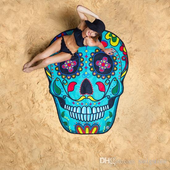 Yuvarlak Polyester Plaj Duş Havlu Battaniye Yoga Havlu Kafatası Dondurma Çilek Gülen Emoji Ananas Pie Karpuz Havlu