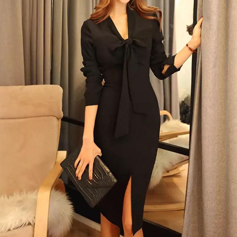 456b67d0800e6 MingJieBiHuo Fashion women elegant dress work style new arrival autumn  korean vintage OL Office sexy slim black pencil dress