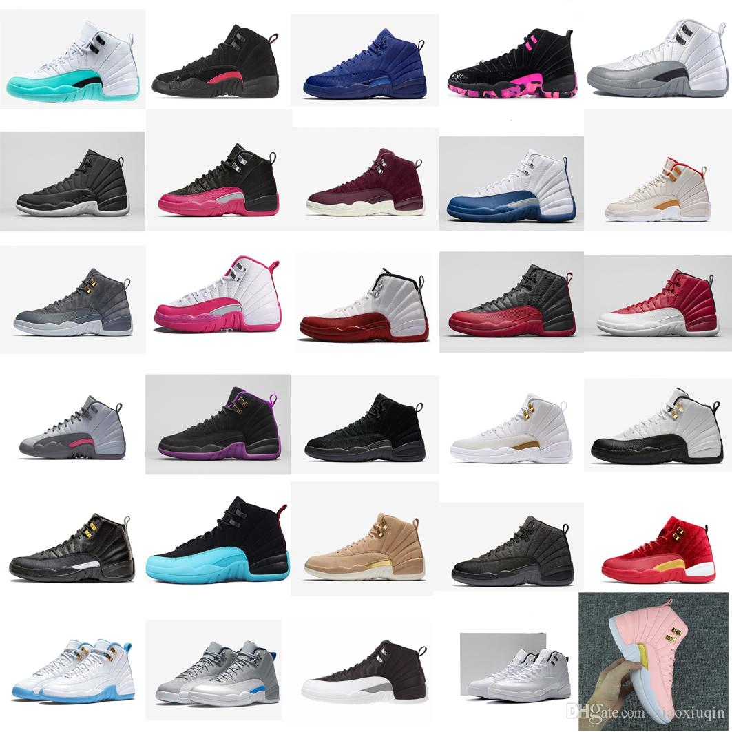 sports shoes 4e8f5 85b2e Cheap Womens retro 12s basketball shoes for sale Light Aqua Wool Grey Melo  Gym Red J12 Boys Girls Kids Jumpman XII sneakers boots with box