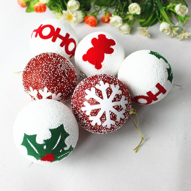 9 Balls/Lot 8CM Christmas Decoration Foam Ball White Craft Balls Christmas Tree Decor DIY Party Decorative New Year Kids Gifts