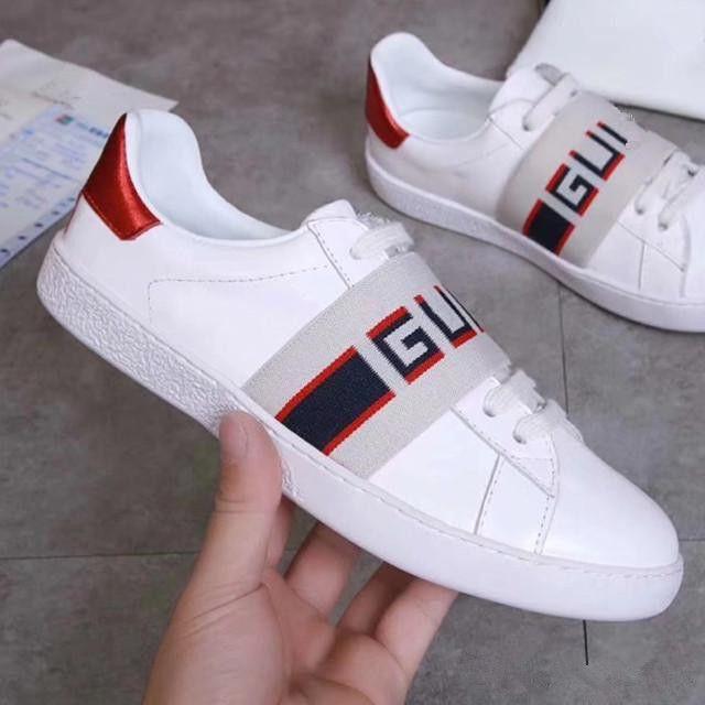 c6fcbeec6553e Branded Women Men Jacquard Stripe Leather Lace Up Ace Sneaker Fashion Lady  Casual Designer Girl Rubber Sole Sport Shoes Size EU35 45 Platform Shoes  Prom ...