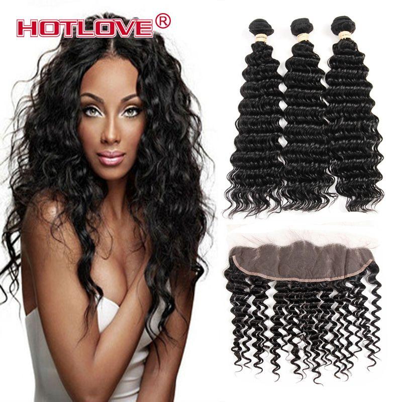 HOTLOVE Mongolian Deep Wave 3 bundle Hair with Lace Frontal 13*4 inch Natural Black No Shedding No Tangle Grade 8A Good Hair