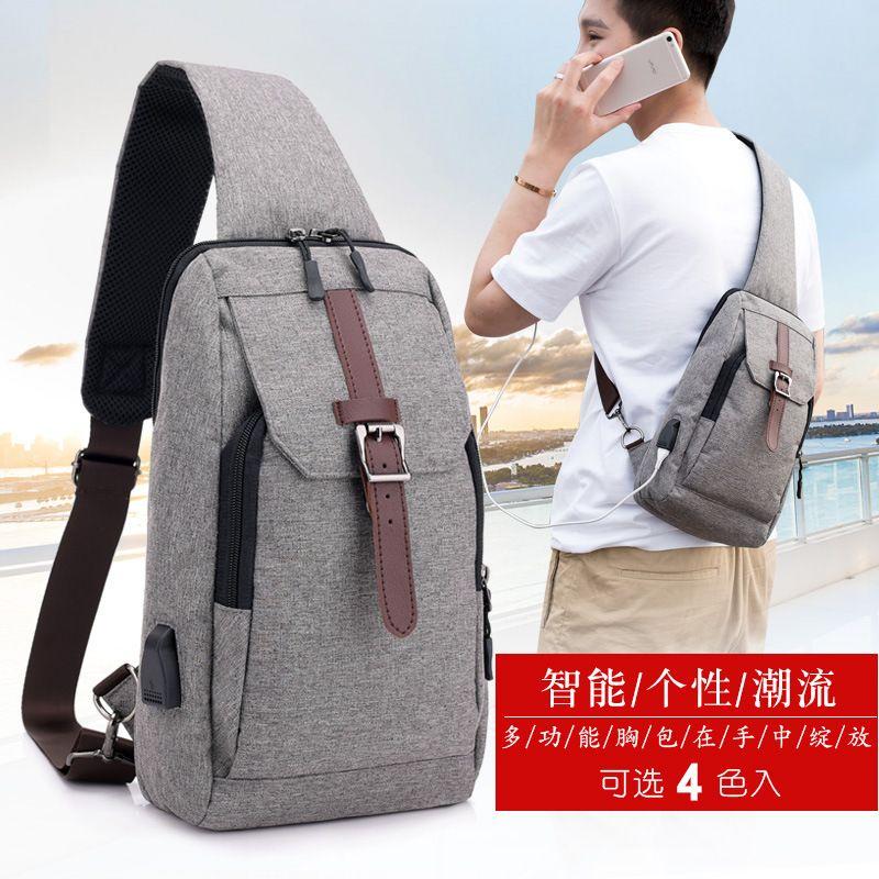 Usb Charge Chest Bag Man Wear Resisting Single Shoulder Bag Casual