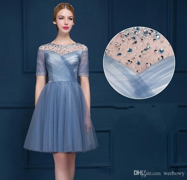 High Quality Short Late Spring And Summer Dance Party Evening Dress New Chiffon Bridesmaid Tee Hollow Back Strap HY121