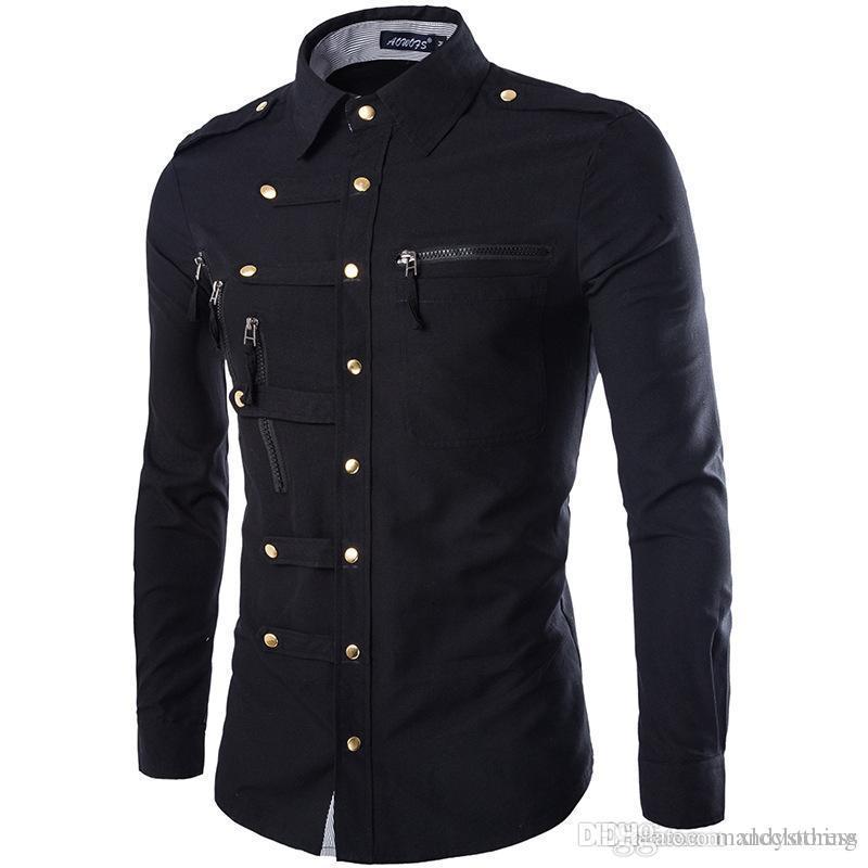 8f565d26d9c Wholesale- Brand Men Shirt Fashion Design Mens Slim Fit Cotton Dress ...
