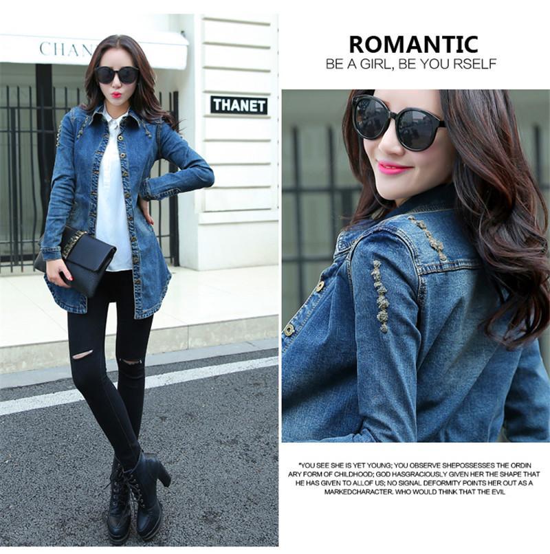 Vintage Women Denim Jacket 2016 Woman Casual Washed Jean Jacket Slim Holes Zipper Long Jean Coat Outwear Female Clothing S-XXL