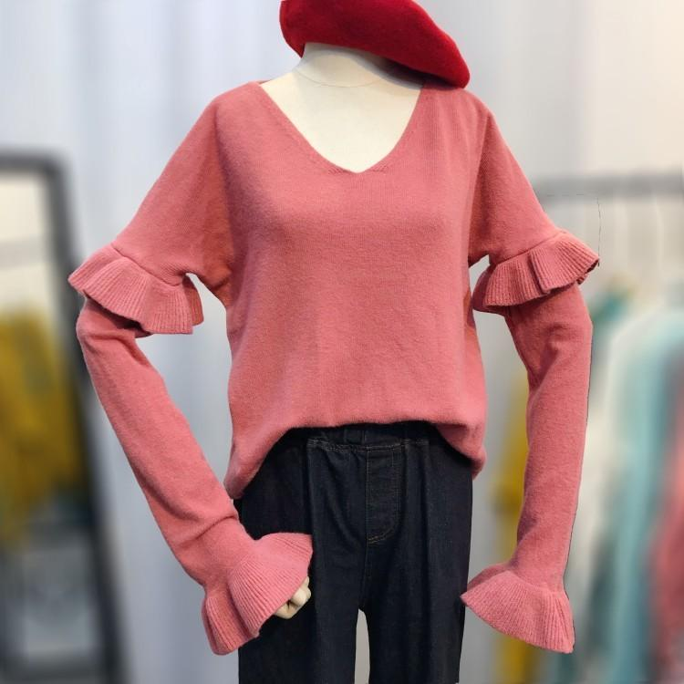 6de55e49eb Harajuku Chic Ruffles Sweater Woman Knitting Pullovers Big Size Fashion  Korean Style Autumn Pull Femme Women Sweaters Oversized Online with   50.05 Piece on ...
