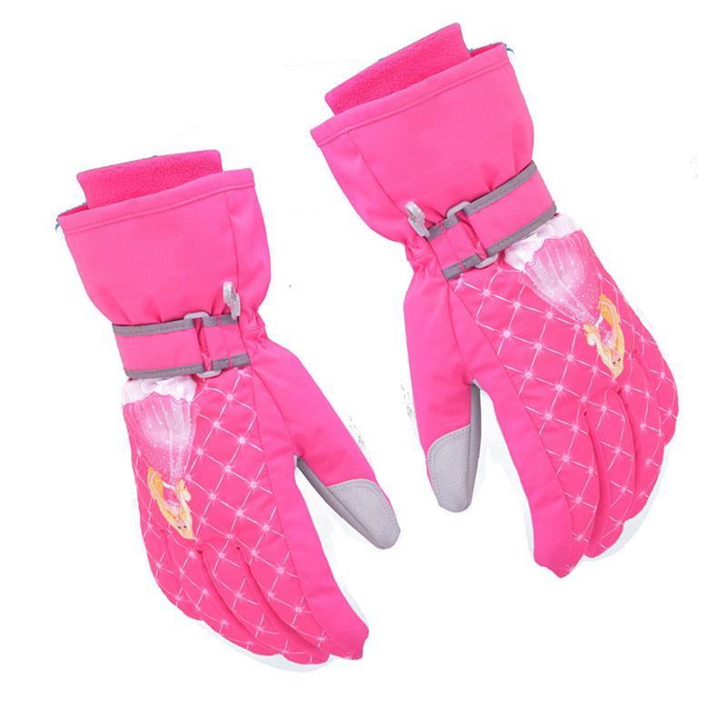 Cycling Princess Pattern Girls Children Winter Bike Cycling Riding Warm Waterproof Windproof Winter Ski Gloves Cycling Gloves