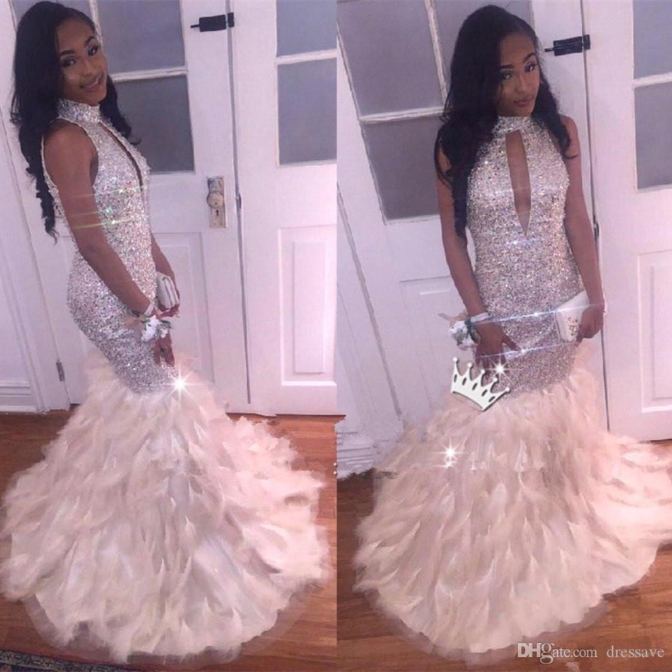 Sexy African Mermaid Prom Dresses Silver Keyhole Neckline Hollow Out ...