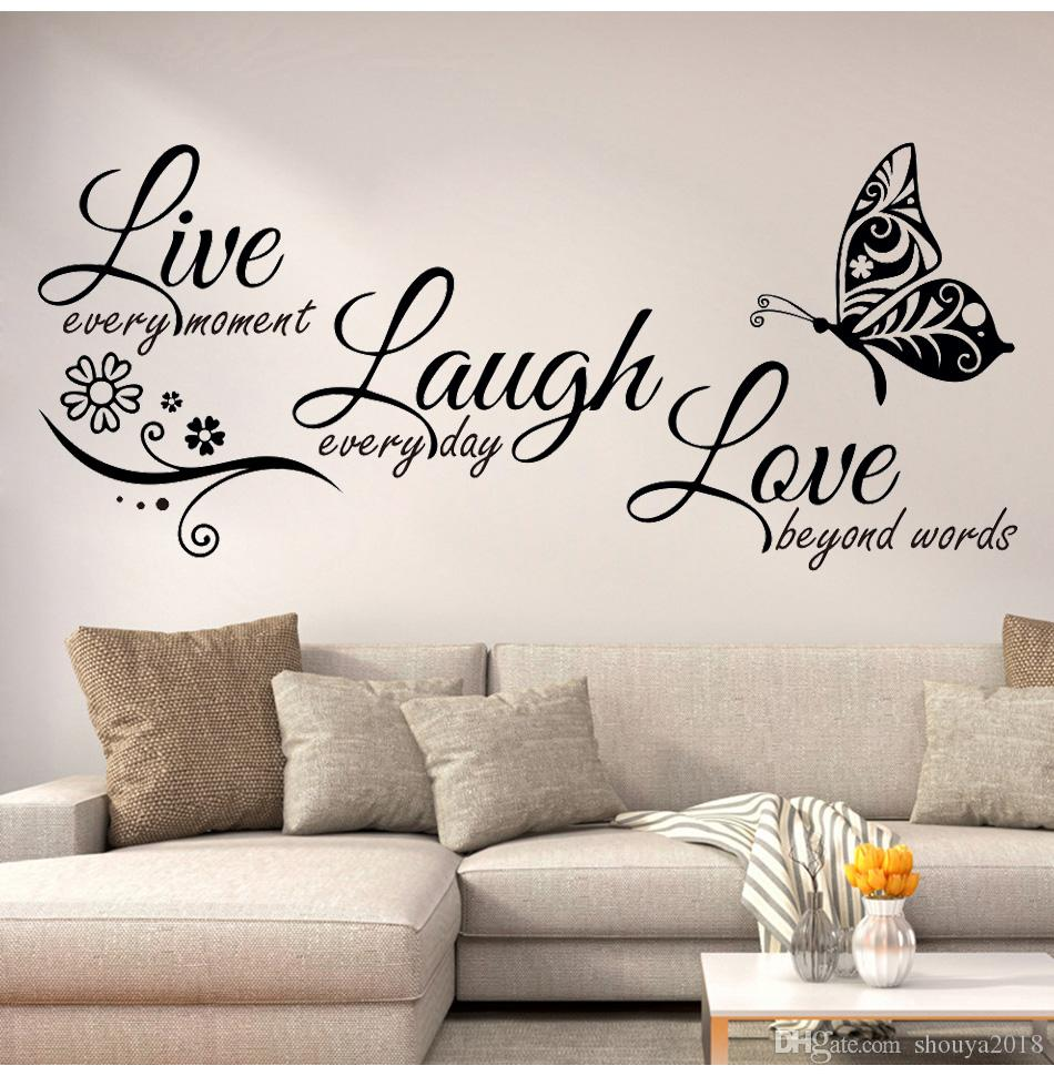 ive Laugh Love Butterfly Flower Wall Art Sticker Modern Wall Decals Quotes Vinyls Stickers Wall Stickers Home Decor Living Roo