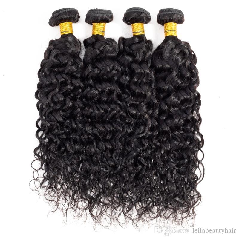 Brezilyalı Bakire Saç Su Dalgası 4 Demetleri Leila Çift Atkı Islak Ve Dalgalı İnsan Saç Uzantıları Örgüleri 8-28 inç Brezilyalı Su Dalga
