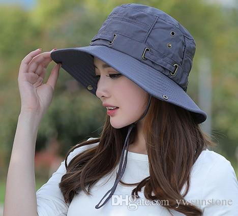 2018 Unisex Foldable Fisherman Bucket Hat Summer Solid Camping Hats Quick Drying UV Protection Sun Caps For Men And Women